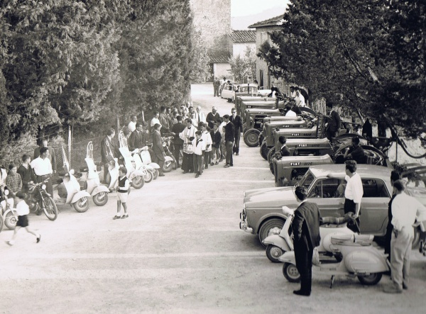 30th may 1964: Car blessing. In Italy was very common to see priests going out the Church after the Sunday Mass and blessing objects or means of transport that could potentially lend people to death or injury.