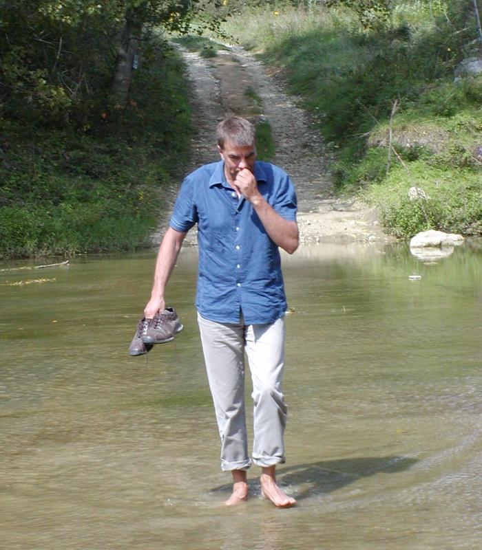 Ian crossing river